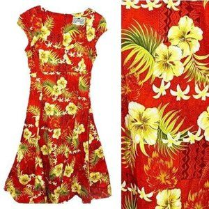 Collectif UK Dress Retro XS Red Hawaiian Print